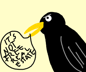 Black bird says it's not free real estate
