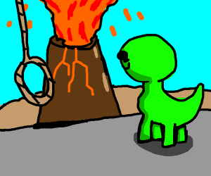 Suicidal dinosaur watches volcano erupting