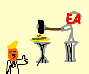 Trump loves statue on pedestal