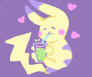 Pikachu making bubbles in water