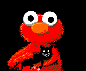 Elmo has a demon cat