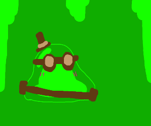Green slime dude with goggles