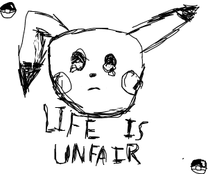 Pikachu thinking about why life is unfair