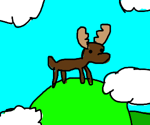 A moose on a mountain