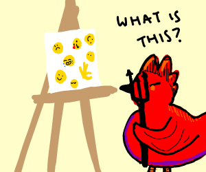 Demon chicken staring at emoji canvas