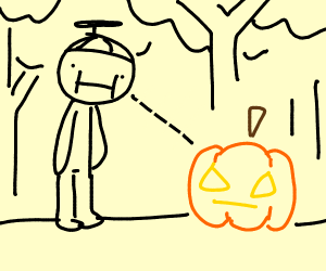 kid sees a jack o lantern in the woods