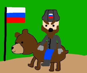 Russian man rides bear