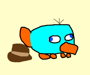 Blue Perry the plattapus covering hat w/tail