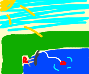 headless man fishing