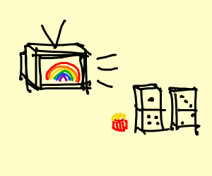 Dominos watching a rainbow televison
