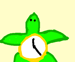Turtle with a clock as a shell