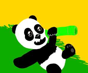 BABY PANDA HOLDING SOME BAMBOO
