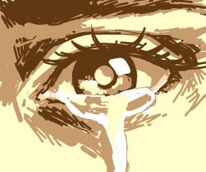 crying brown eye