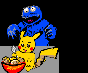 Pikachu and the cookie monster