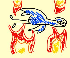 Dragon flying through fire