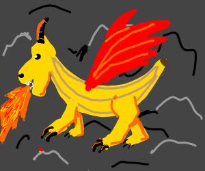 Banana-dragon breathing fire.
