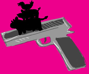 pig, cow, and chicken on a gun