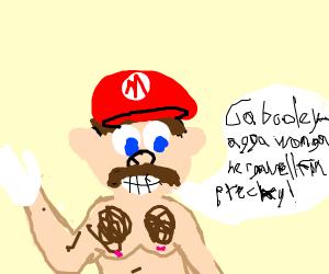 Shirtless Mario having a stroke
