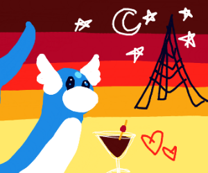 Dratini in Paris with a martini