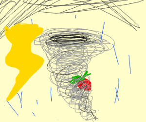 Strawberry stuck in a tornado