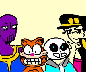 Thanos, Garfield, Sans and Jotaro
