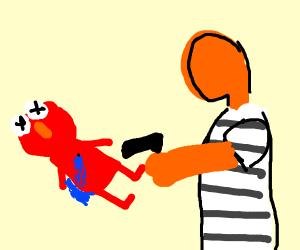 Elmo shot by orange guy in prison uniform