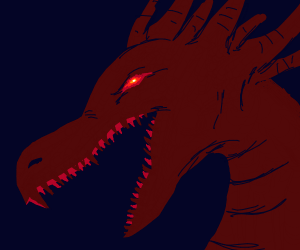 Dragon with glowing eyes