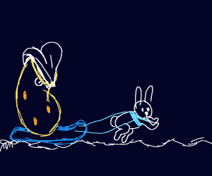 Victreebel rides a sled pulled by a rabbit