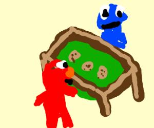 Cookie Monster deals cookies to Elmo