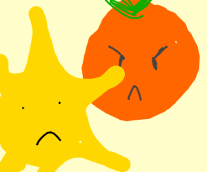 a planet-sized orange is angry at sun.