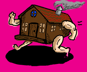 House with human arms and legs running