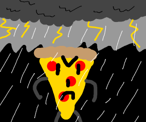 Angry pizza in thunder storm