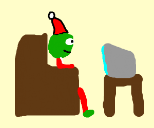 Grinch watches t.v.