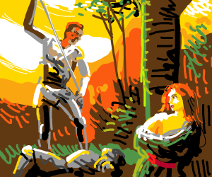 man kills knight while kidnaped woman waches