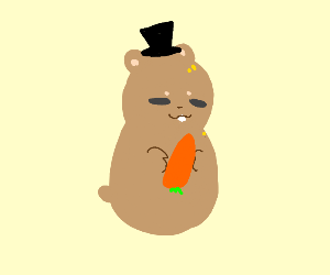 A hamster has on a top hat