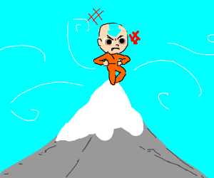 Aang on a mountain. he is aangry