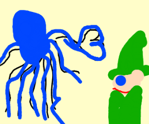 octopus in love with forest wizard