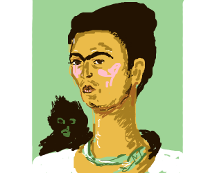 Lady with monkey on shoulder. Green necklace.