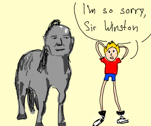 Man apologizes to sir Winston, who is a horse