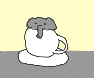 elephant in a tea cup