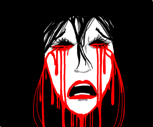 girl crying blood and has blood everywhere