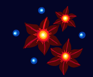 star shaped flowers glowing in midnight