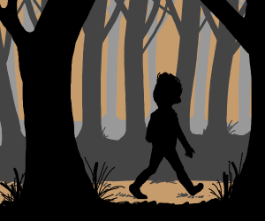 Boy lost in the woods
