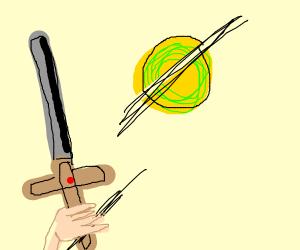 Sword cutting tennis ball