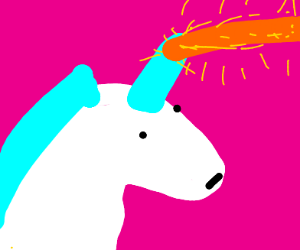 Unicorn with laser beam