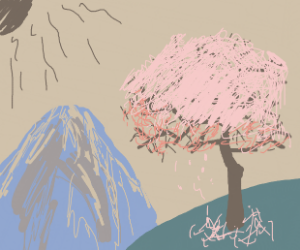 tree full of blossoms with view on mountain
