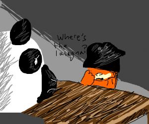 garfield interrogates panda for lasagna