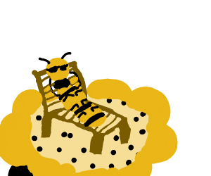 bee sitting in a chair with sunglasses