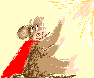 Monkey thanking the gods for powers