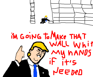 Donald Trump makes the wall by his own hands